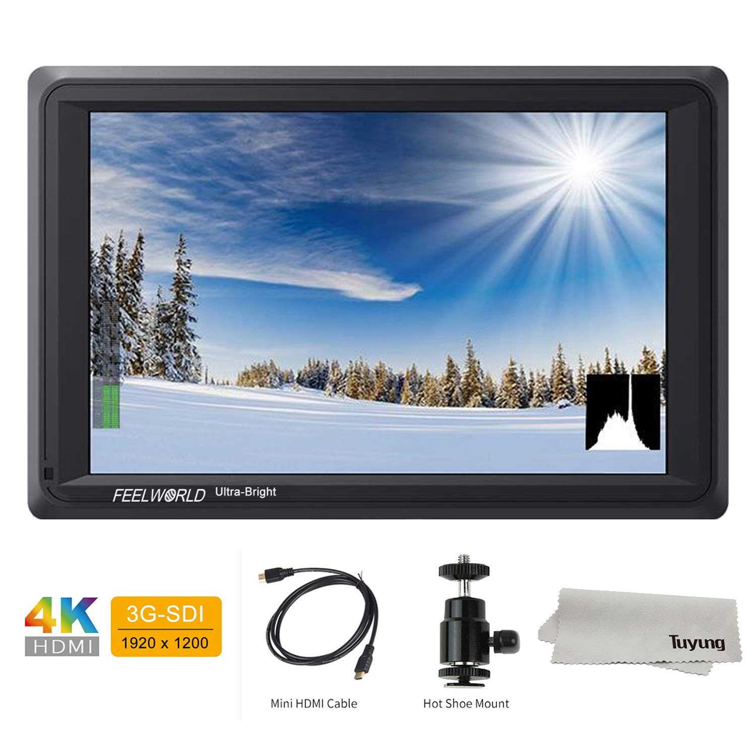 FEELWORLD FW279S 7 Inch 4K HDMI 3G-SDI 2200nit Daylight Viewable 1920x1200 On-Camera Field Monitor with Histogram, Focus Assist, Zebra Exposure, False Color, Check Field, Pixel to Pixel for DSLR Camer by FEELWORLD