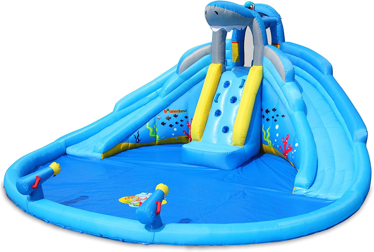 Bounceland Shark Tank Water Slide with Dual Slides and Pool, Dual Water Guns, Large Splash Pool, Dual Long Water Slides, UL Certified Blower Included, Fun Party Theme for Kids