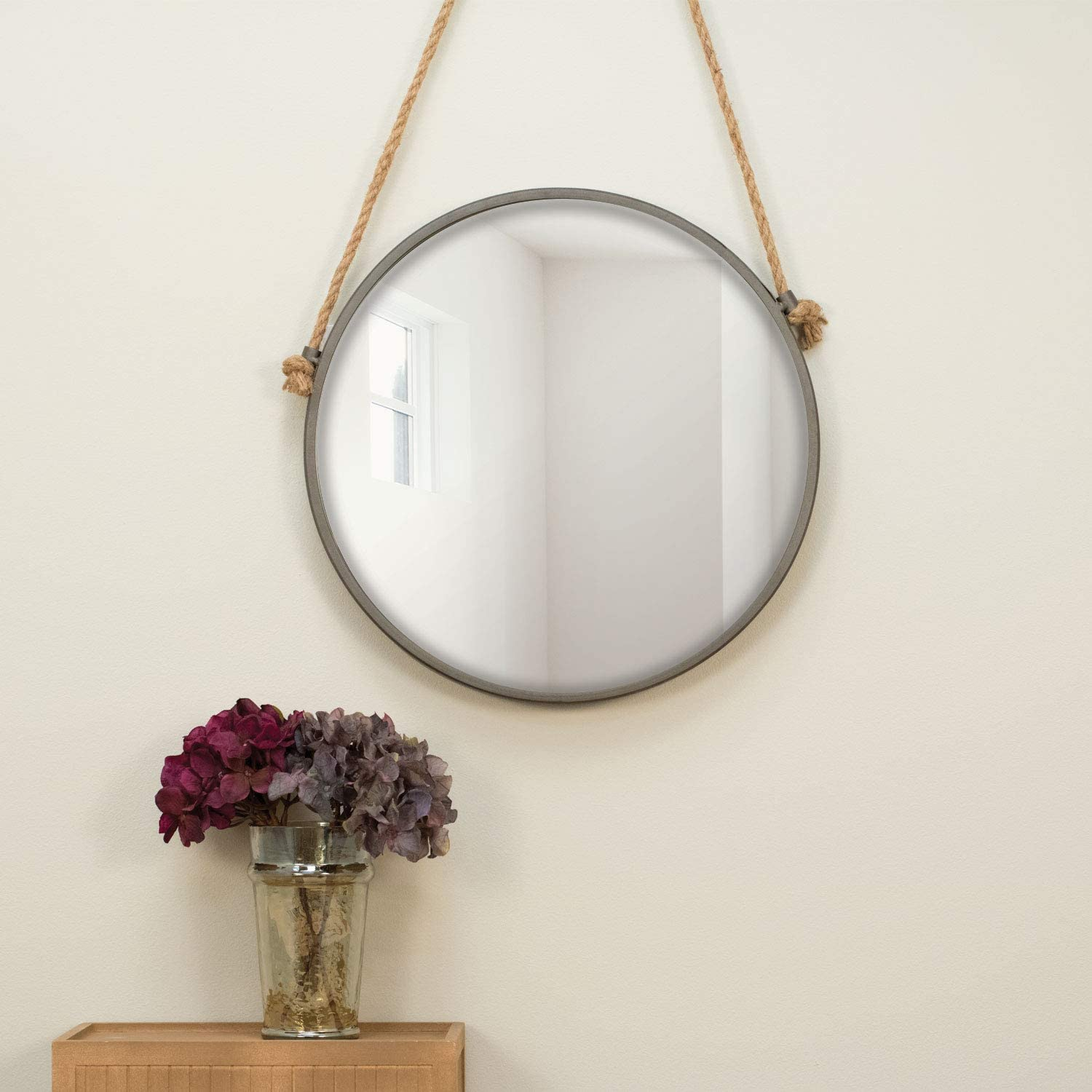 Foreside 15 inch Diameter Round Rustic Wall Mirror
