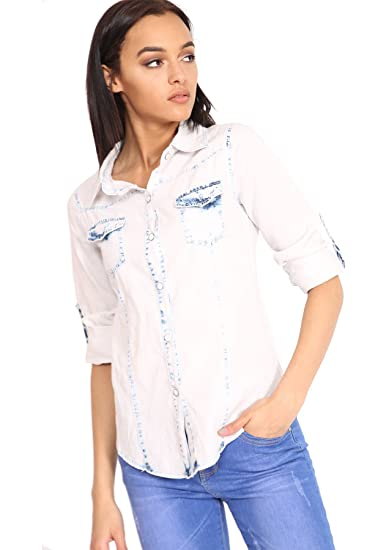 7a97c640725 Image Unavailable. Image not available for. Color  Womens Casual Bleached Acid  Wash Button Up Long Sleeve Light Blue Denim Shirt