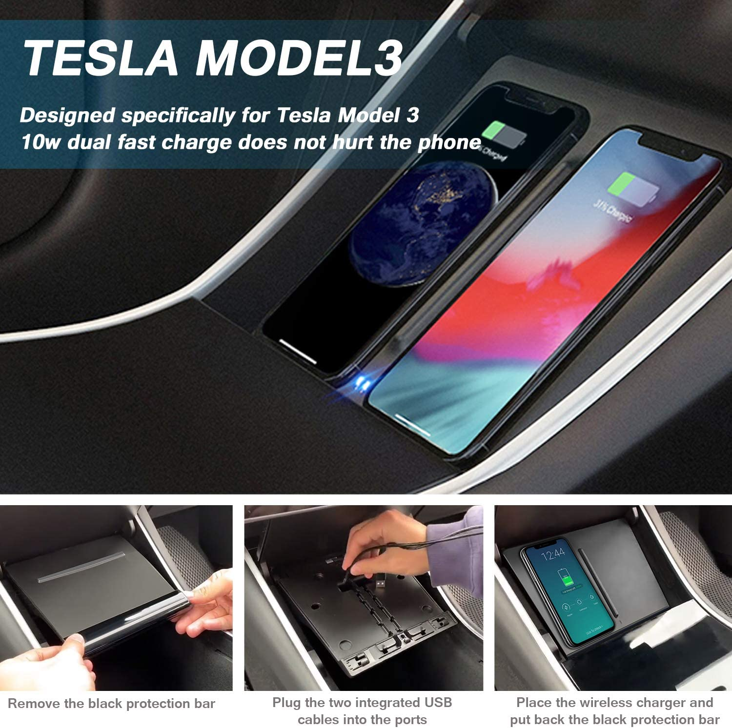 Dual 10W QI Wireless Phone Charging Pad M3 Car Center Console Tesla Model 3 Accessories Panel with 7pcs Custom Cup Mat Center Console Liner mat-Newest Upgrade VXDAS Tesla Model 3 Wireless Charger
