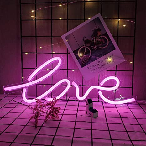 ENUOLI Neon Love Light Blue Neon Light Neon Wall Lights Art Decor for Wall Battery or USB Operated LED Neon Love Sign Love Light Up Sign Neon Night Light for Girls Room,Christmas,Wedding,Party