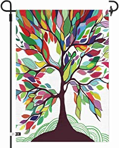 AOKDEER Colorful Rainbow Tree of Life Garden Flag 12.5×18 Inch Double Sided Burlap Decorative Yard Banner Garden Flag Holiday Flag for Party Home Outdoor Decoration