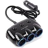 Tomo Light シガーソケット 3連 ソケット usb 車載充電器 急速充電器 バッテリー カーチャージャー 増設 延長 ケーブル 分配器 シガレットソケット 3ポート