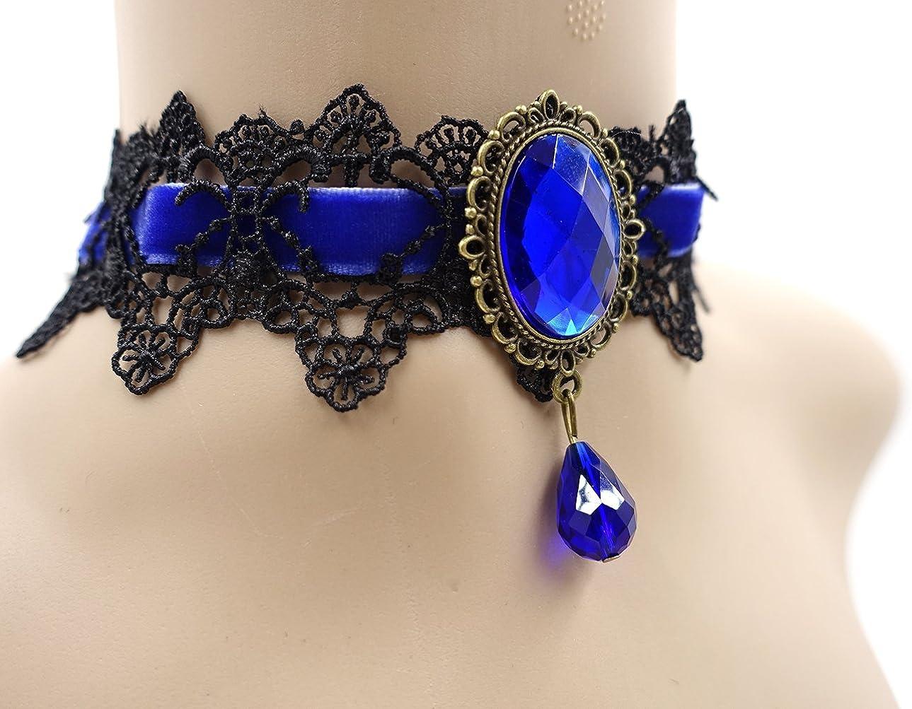 Retro Handmade Craft Lace Royal Court Vampire Choker Gothic Necklace Bracelet Black Pendant Chain Eternity J