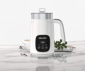 HOLA RICO Milk Frother, Electric Hot Cold Milk Steamer, Soft Foam Maker Warmer, Automatic and Silent, Easy to Use and Clean, Stainless Steel for Latte, Cappuccino, Hot Chocolate