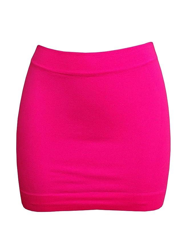 Faldas neón corta ajustada rosa flúor para mujer
