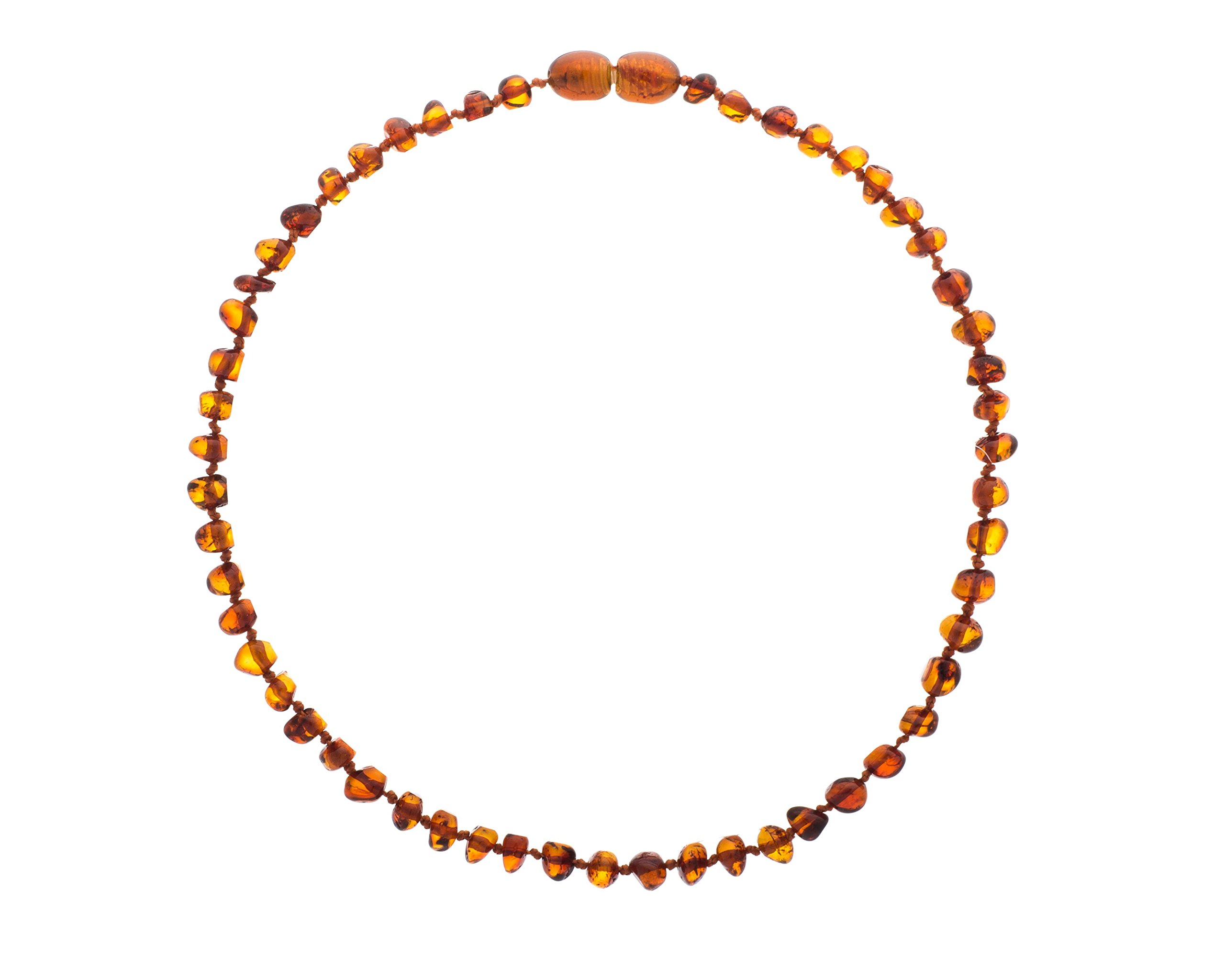 Baltic Amber Teething Necklace For Babies (Unisex) (Cognac) - Anti Flammatory, Drooling & Teething Pain Reduce Properties - Natural Certificated Oval Baltic Jewelry with the Highest Quality Guaranteed by Baltic Wonder (Image #2)