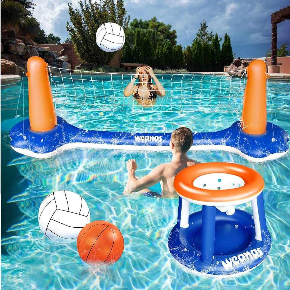 Weanas Floating Volleyball Set, Inflatable Pool Float Set Volleyball Net & Basketball Hoops Pool Swimming Game Toys for Kids and Adults: Sports & Outdoors