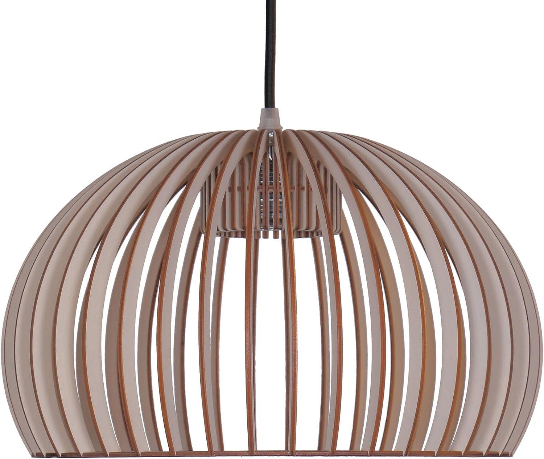 Holz Decken Hänge Lampe Arbeits Zimmer Beleuchtung Lamellen Leuchte natur weiß