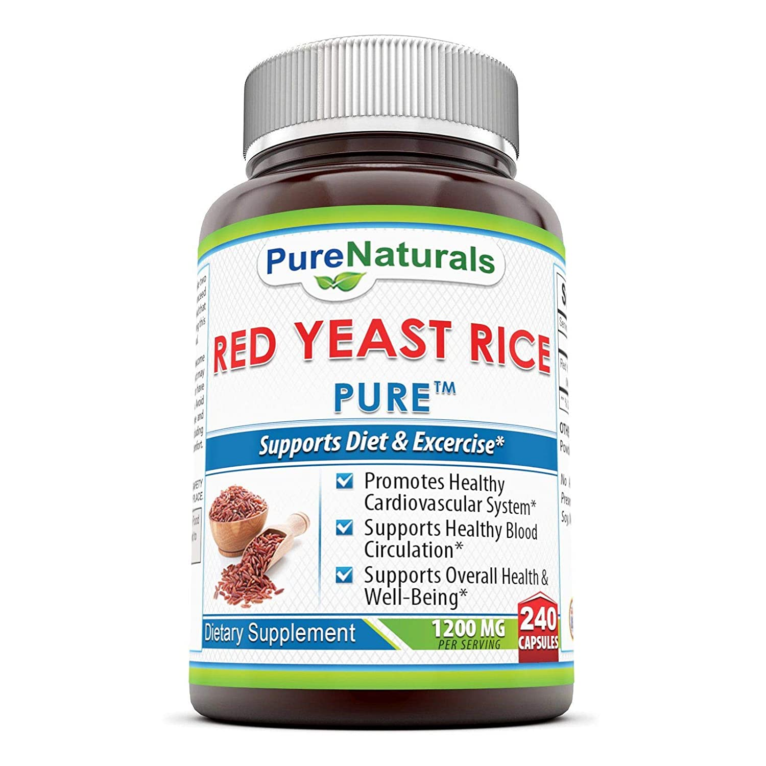 Pure Naturals Red Yeast Rice Dietary Supplement, 1200 Mg, 240 Count: Amazon.es: Salud y cuidado personal