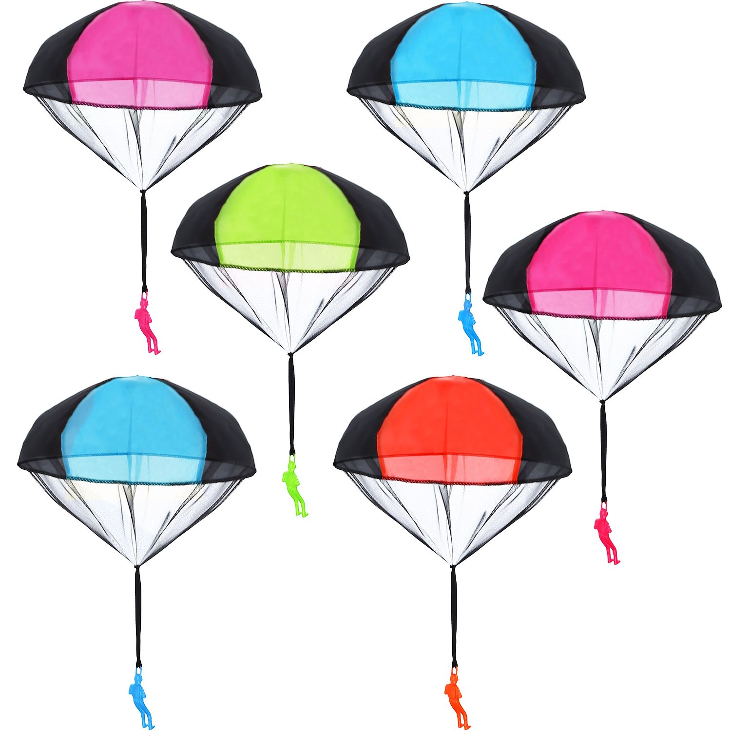 Blulu 6 Pieces Parachute Toys Tangle Free Throwing Hand Throw Soldiers Toss It Up and Watching Landing Outdoor Toys by Blulu