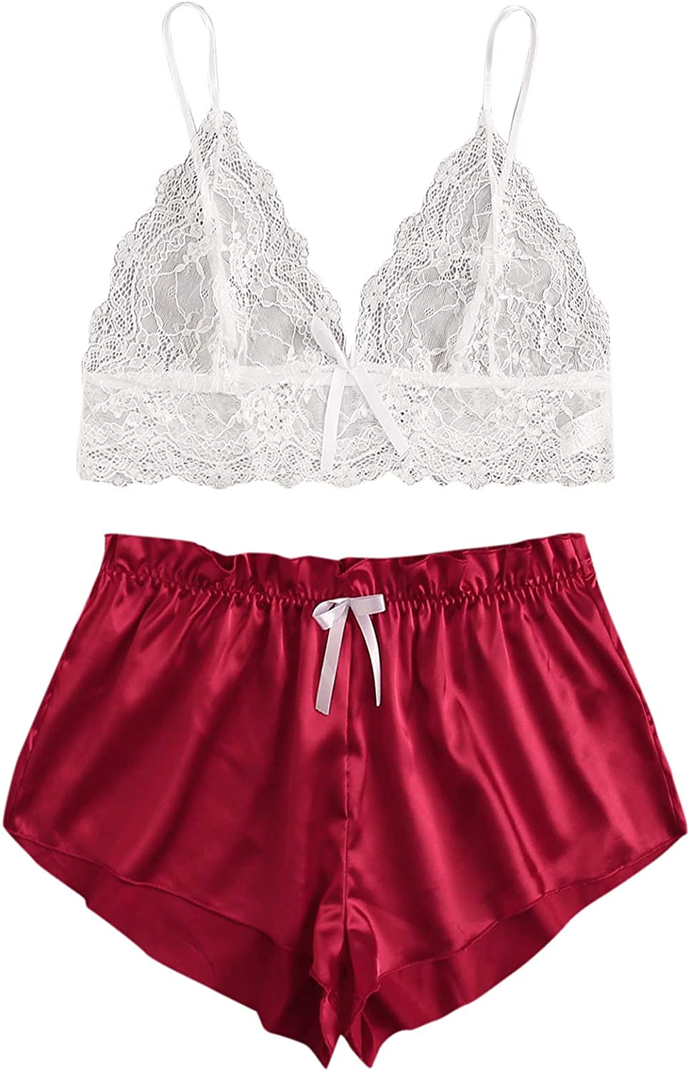 Milumia Womens Plus Size Lingerie Set Lace Cami Top with Shorts Sleepwear