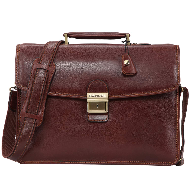 Banuce Vintage Full Grain Leather Briefcase for Men with Lock 14'' Laptop Tote Business Messenger Bag by Banuce (Image #1)