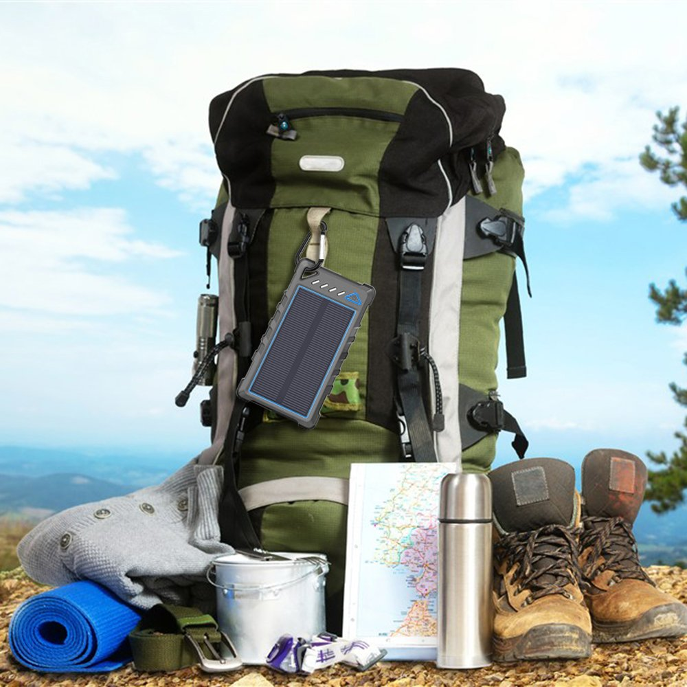 Portable Solar Charger 10000mAh Solar Power Bank made our gear list of top reasons women hate camping and how to overcome them