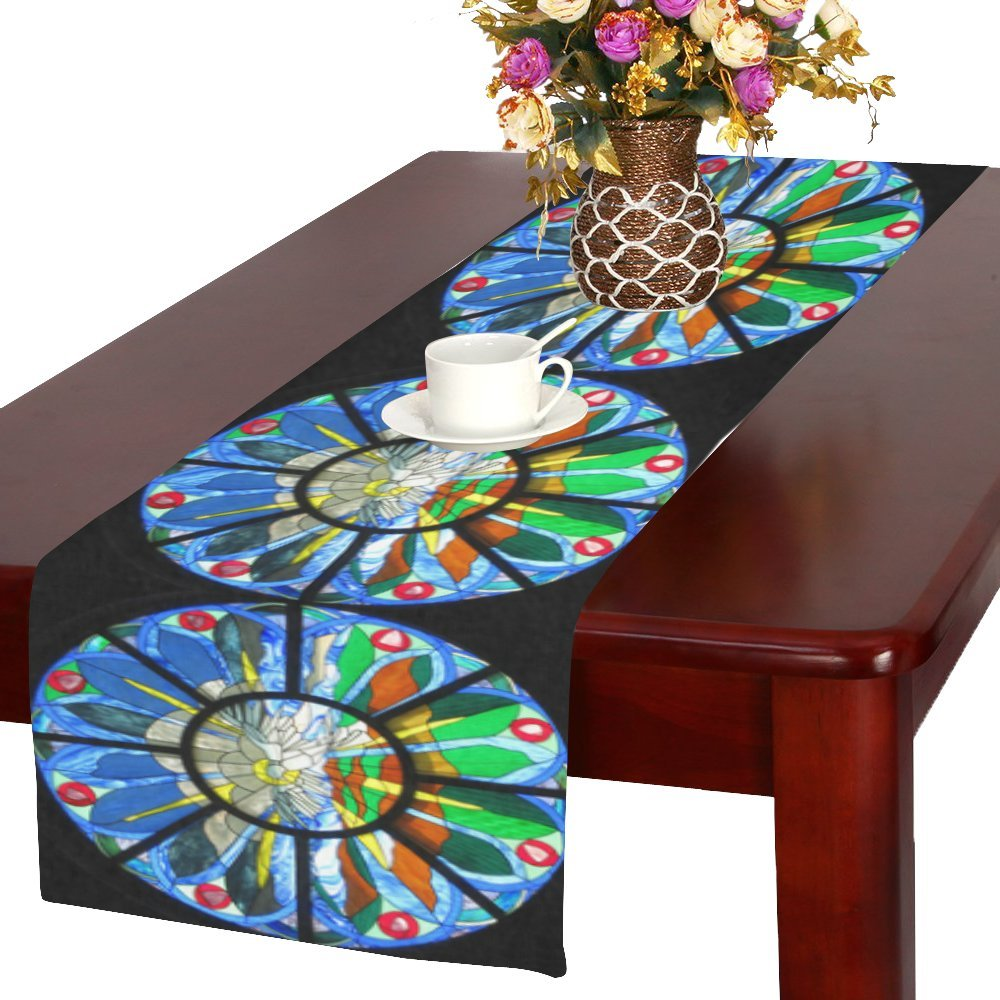 Design With The Rose Window In The Gothic Cathedral Pattern Cotton Linen Placemat Table Runner 16 x 72 Inches, Rectangle Table Runner Cotton Linen Cloth Placemat.