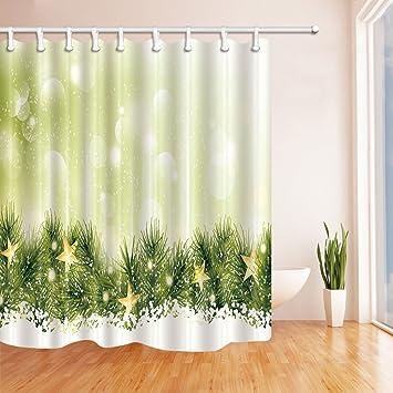 Nyngei Weihnachten Vorhange Dusche Fur Badezimmer Grun Kiefer Nadeln