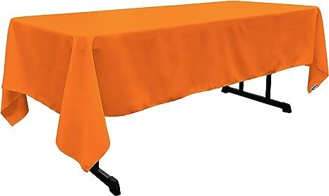 Amazon Com La Linen Polyester Poplin Rectangular Tablecloth 60 X 120 Orange Home Kitchen
