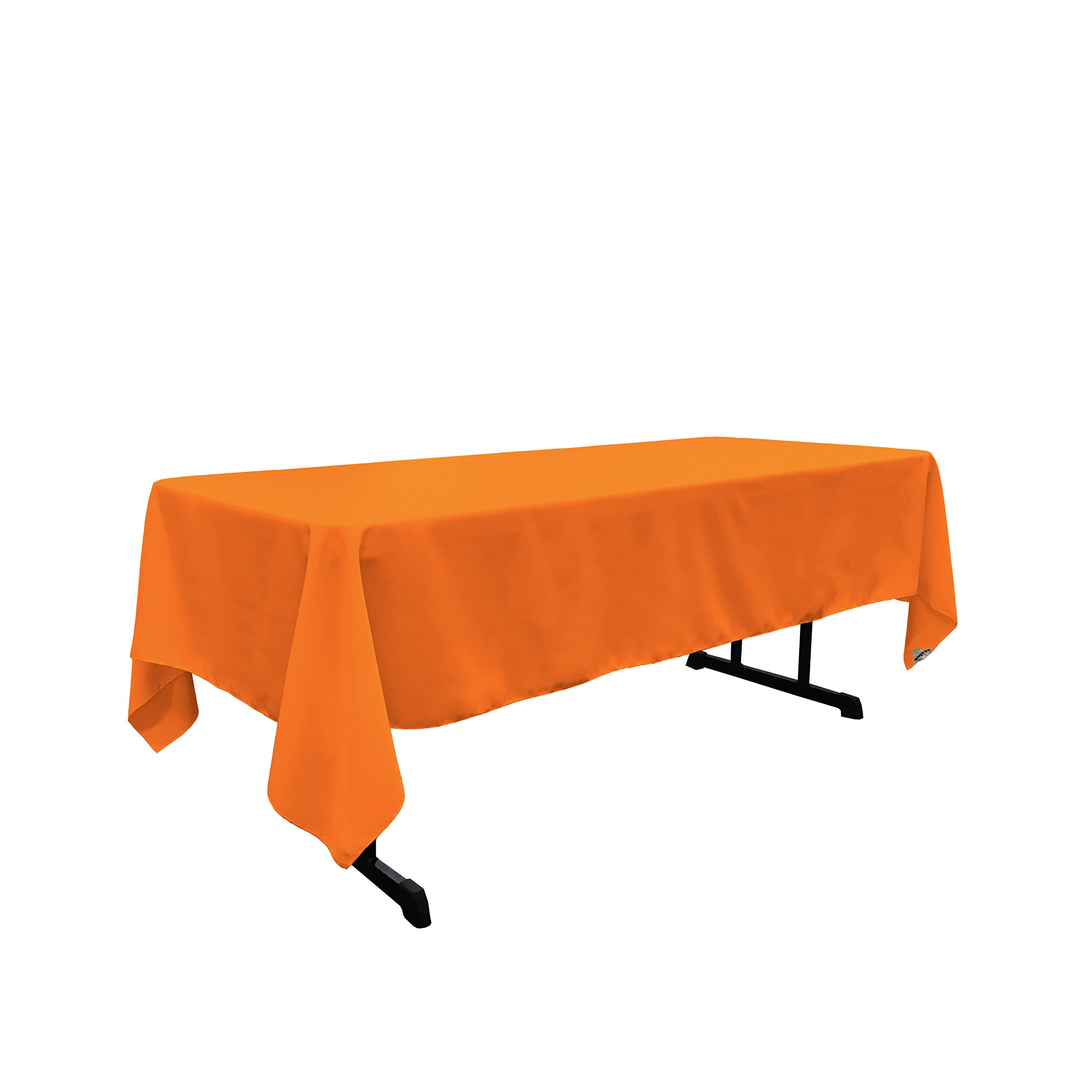 LA Linen Polyester Poplin Rectangular Tablecloth, 60 by 120-Inch, Orange
