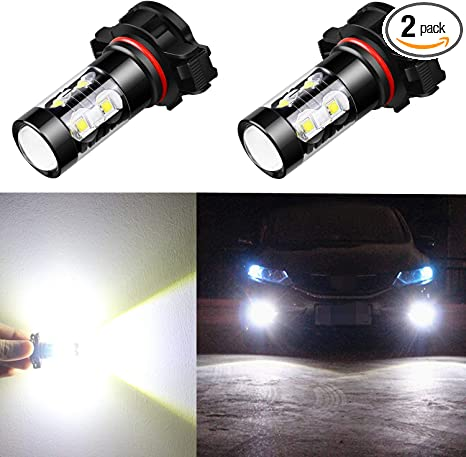 Alla Lighting 5201 5202 Led Fog Light Bulbs Canbus Xtreme Super Bright High Power 50w 12v Led Drl Ps19w 12085 Ps24w Replacement 6000k Xenon White