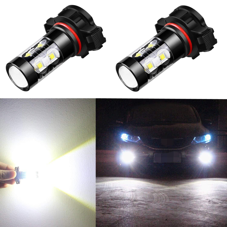 Alla Lighting 2504 PSX24W LED Fog Light Bulbs Super Bright PSX24W LED Bulb High Power 50W 12V LED PSX24W Bulb for 12276 2504 PSX24W Fog Light Bulbs Replacement, 6000K Xenon White (Set of 2)