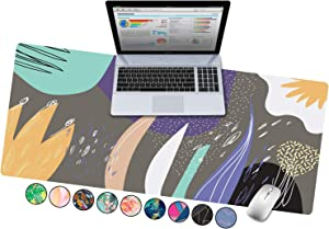 "French Koko Large Mouse Pad, Desk Mat, Keyboard Pad, Desktop Home Office School Cute Decor Big Extended Laptop Protector Computer Accessories Pretty Mousepad Women Girls XL 31""x15"" (Happy Abstract)"