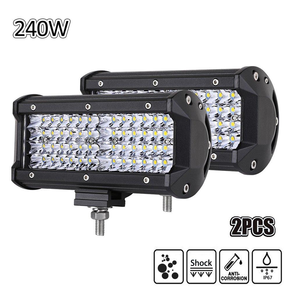 Echoming LED Arbeitsscheinwerfer 5 Inch 72W Cree LED Zusatzscheinwerfer 10800LM Auto Scheinwerfer Offroad Flutlicht Spotlight 6000K Wasserdicht IP67 Arbeitslicht 12V (2 Stü ck) 72W 10800lm Faro da Lavoro