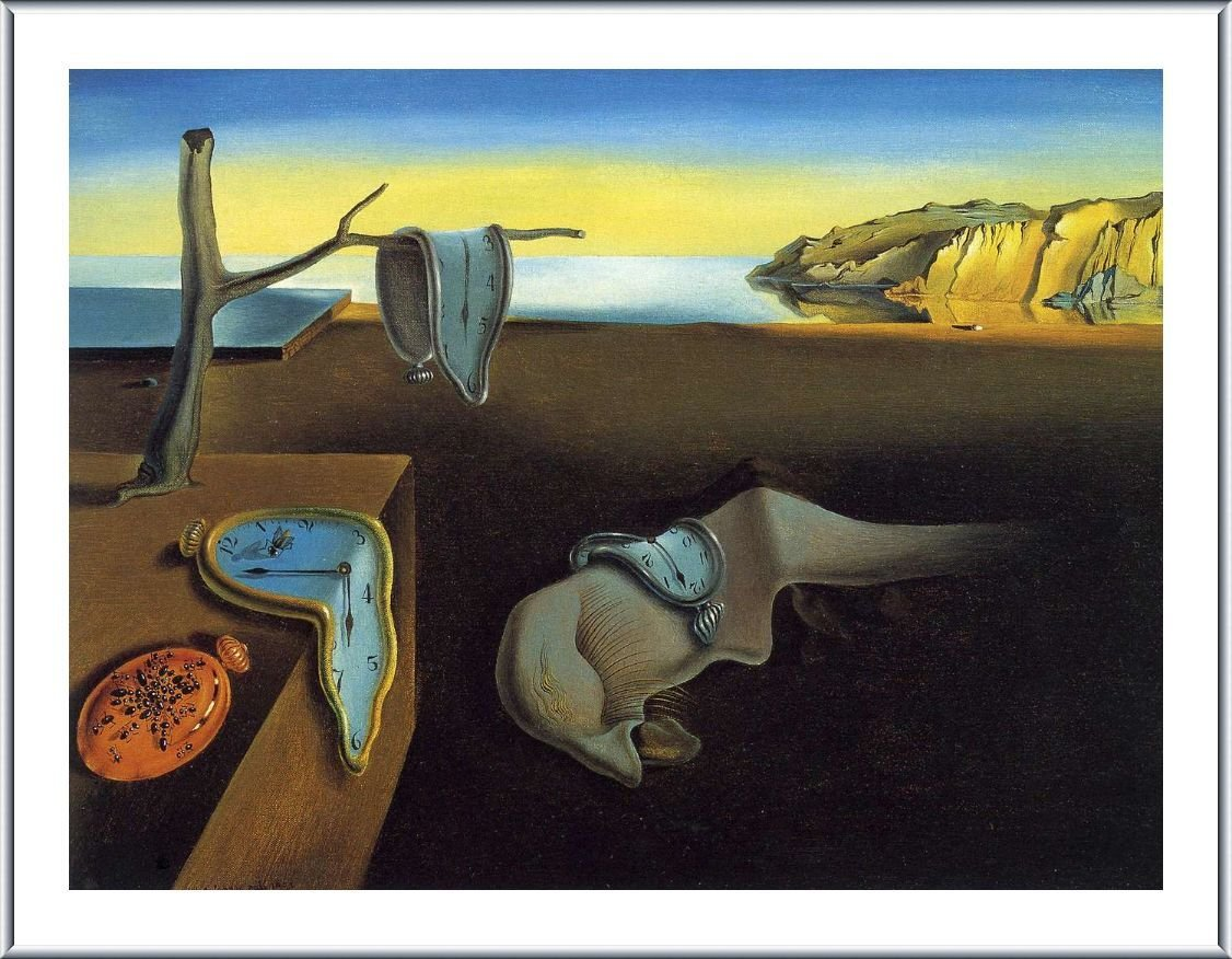 The Persistence Of Memory Melting Clock Salvador Dali Silver Aluminum FRAMED POSTER (Print on 100% Cotton CANVAS on foam board) - READY TO HANG   17''x13''   Framed Print Framed Posters Framed Paints
