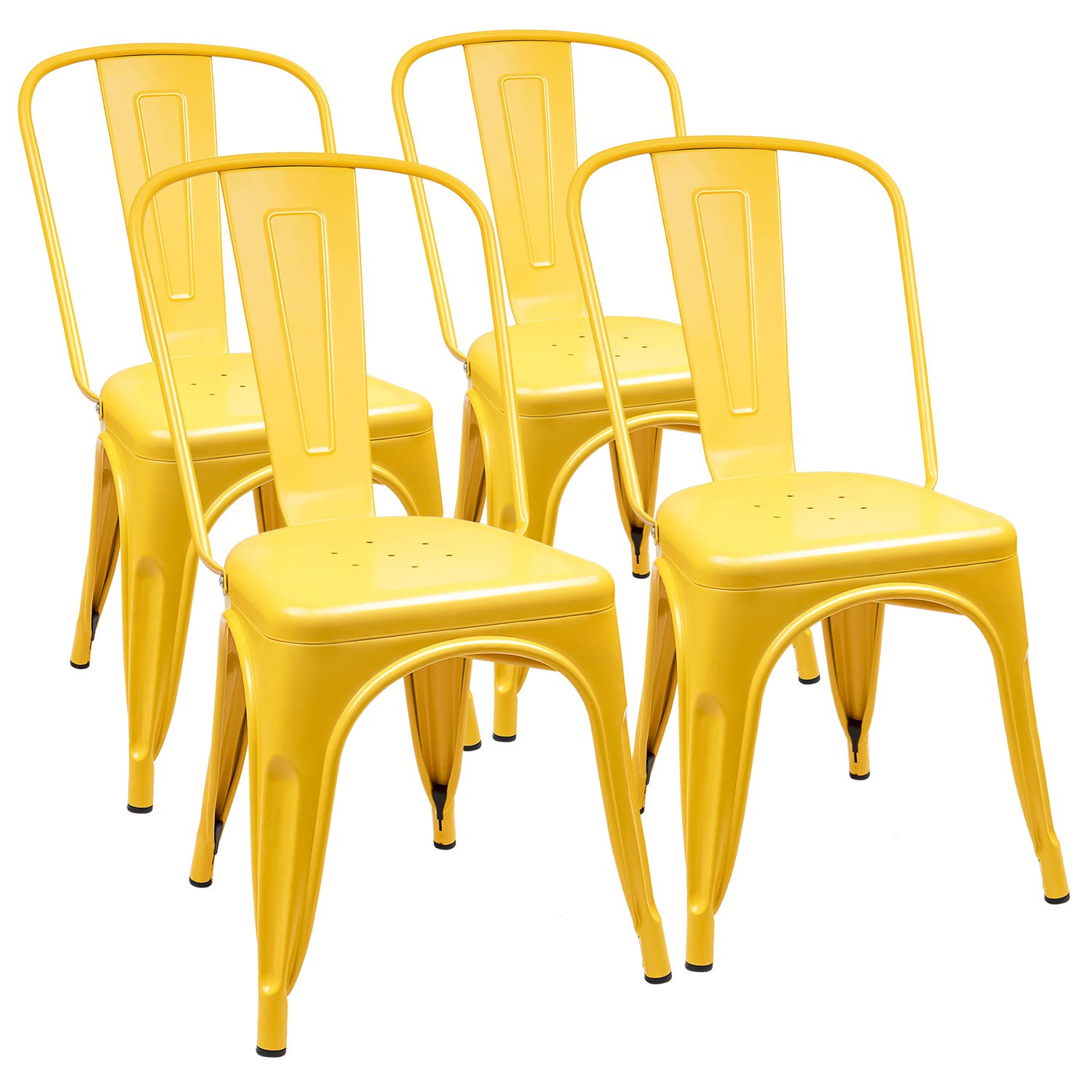 Furmax Metal Dining Chair Indoor-Outdoor Use Stackable Classic Trattoria Chair Chic Dining Bistro Cafe Side Metal Chairs Set of 4 (Yellow)