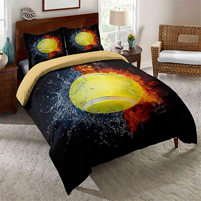Homebed Teen Tennis Bedding Set 3 Piece Boys Sports Themed Duvet Cover Crack Ball Breaking Pattern Green White and Black Bedspread Full