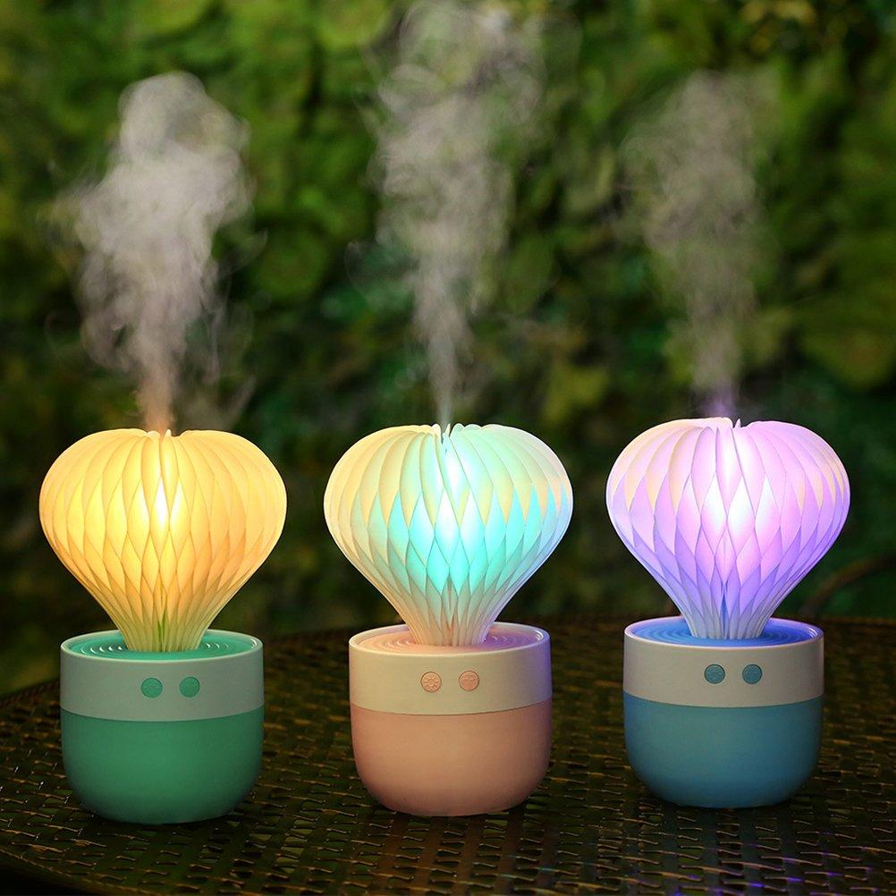 VORCOOL Umidificatore a forma di cactus con LED cambia colori per regalo di Festa della Mamma Verde