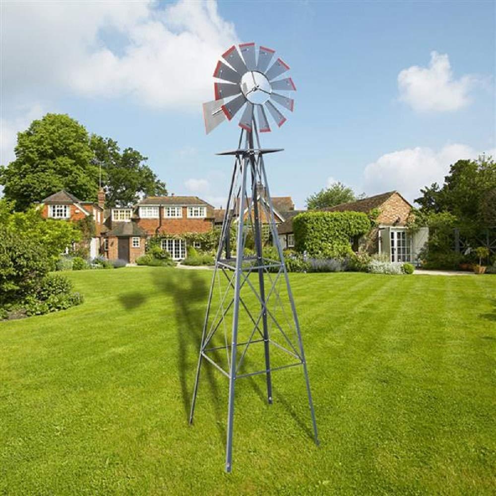 Fullwatt 8FT Windmill Backyard Windmill with Red Tips Metal Windmill Weather Vane Weather Resistant (Grey)