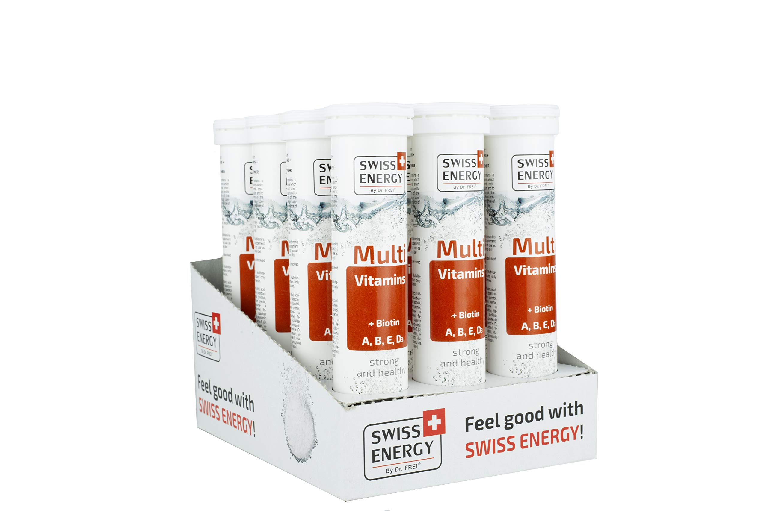 Swiss Energy Multi Vitamin (A, B, E, D3) + Biotin Effervescent (20 Count) - Pack of 12 by Swiss