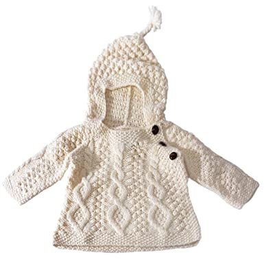 6cc37f986 Amazon.com: Carraig Donn Irish Merino Wool Baby Hooded Sweater with Side  Fastening Buttons: Clothing