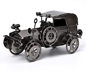 QBOSO Metal Antique Vintage Car Model Handcrafted Collections Collectible Vehicle Toys for Bar or Home Decor Decoration Great Birthday Gift (Iron Black, Large)