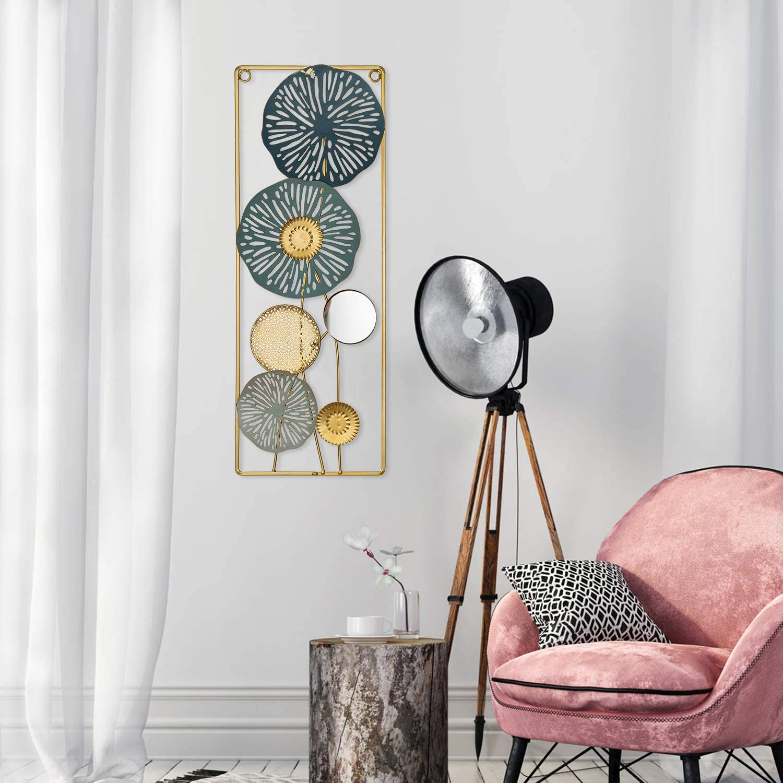 "Metal Wall Panel Decorative Wall Hanging Art, Metal Wall Hanging Art, Rectangle Metal Wall Decor with Frame, Decorative Circular Flower Metal Wall Hanging Decor, Wall Hanging Accents Home Decor 23""x8"""