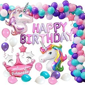 MMTX Decorazioni per Feste Unicorno, Enorme Palloncino Unicorno, Buon Compleanno Ballon Banner,...