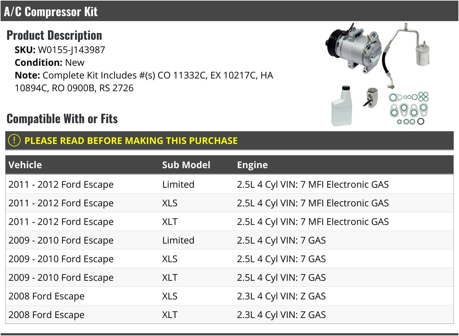 A//C Compressor Kit Compatible with 2008-2012 Ford Escape