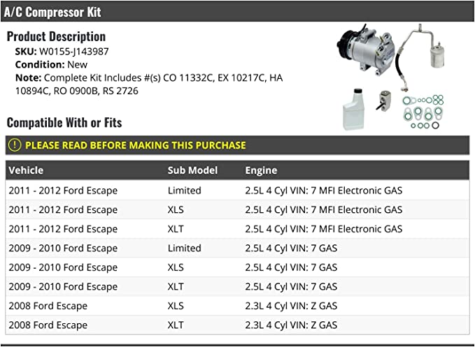 FEIPARTS CO 11332C A/C Compressor Fit for 2008-2012 for Ford ...