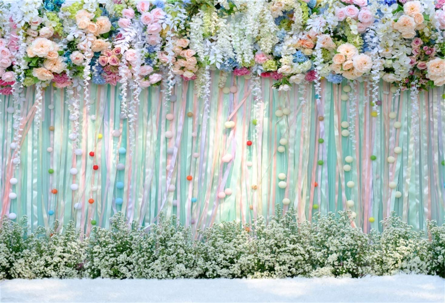Laeacco 10x6.5ft Vinyl Graceful White Flowers Decorated Wedding Hall Backdrops Luxurious Wedding Reception Background Green Wall Wedding Photo Studio Valentines Day Couple Portraits
