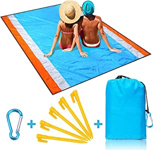 """Naohiro Sand Free Beach Blanket,Extra Large 79"""" X 82"""" for 4-7 Persons Beach Mat.Outdoor Picnic Mat for Travel, Camping, Hiking and Music Festivals-Lightweight Quick Drying Heat Resistant"""
