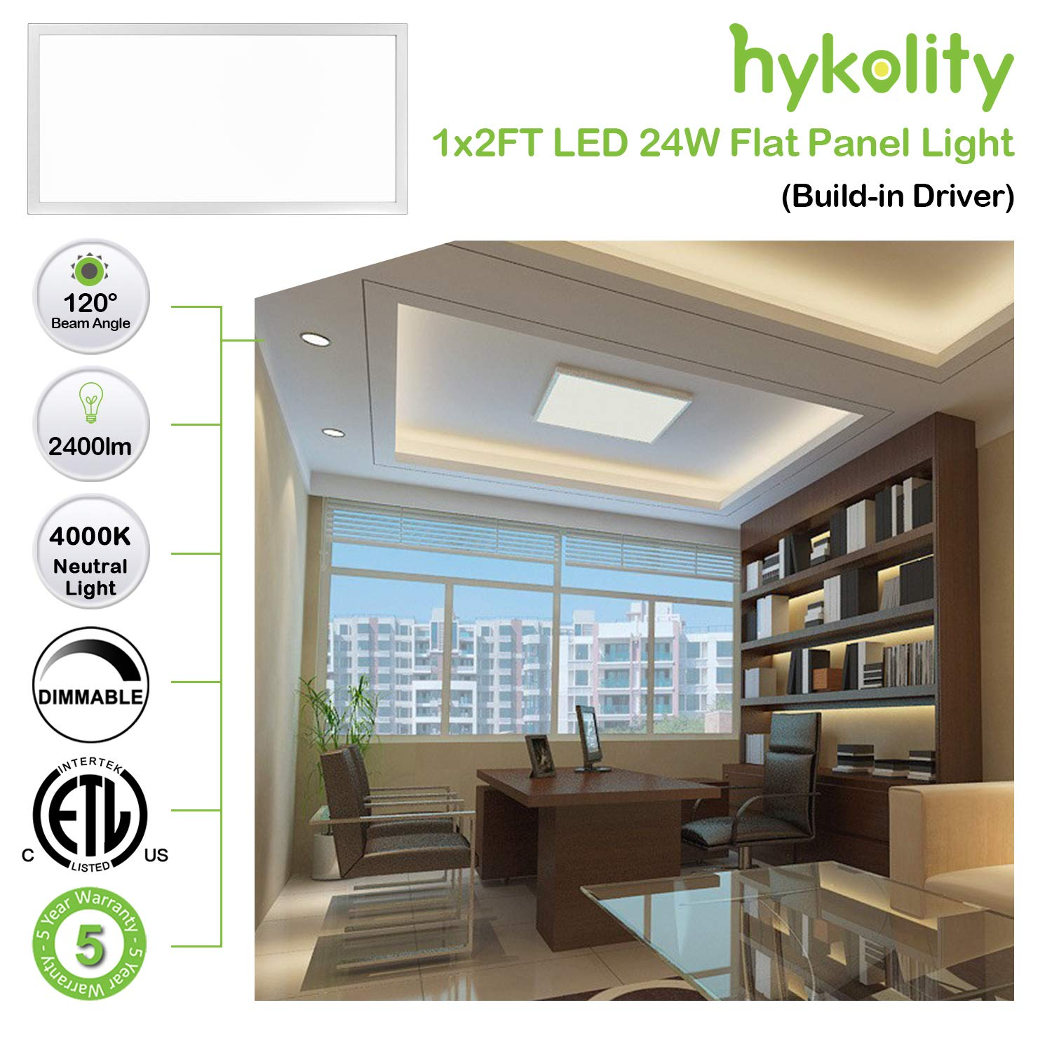 Hykolity 1x2 FT 24W 2400lm 4000K Triac Dimmable Flat LED Troffer Panel Light, Ultra Slim Flushmount Built-in Driver Drop Ceiling Light, Residential Surface ...