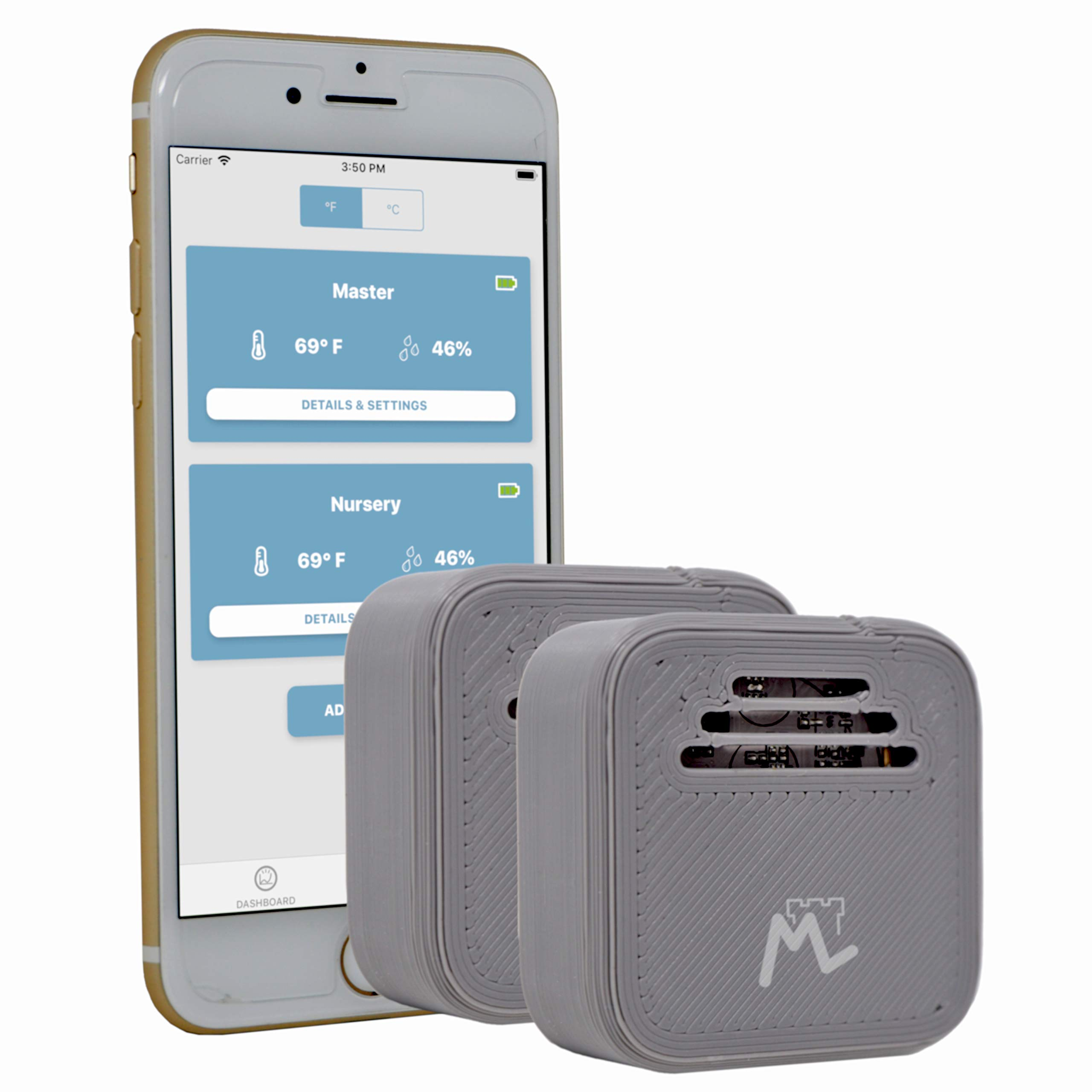 Moat Temperature & Humidity Wireless Smart Sensor for iPhone - iOS Thermometer/Hygrometer with alerts to Monitor The Ambient Climate in Your Nursery, Incubator, Fridge, and Any Other Room (2 Sensors) by Moat (Image #1)