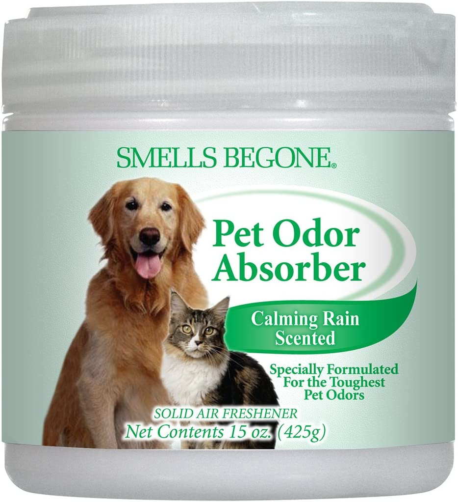 Smells Begone Air Freshener Odor Absorber Gel - Absorbs Odor from Bathrooms, Cars, Pet Areas, Boats and RVs - Made with Natural Essential Oils (15 OZ) (Pet Calming Rain)