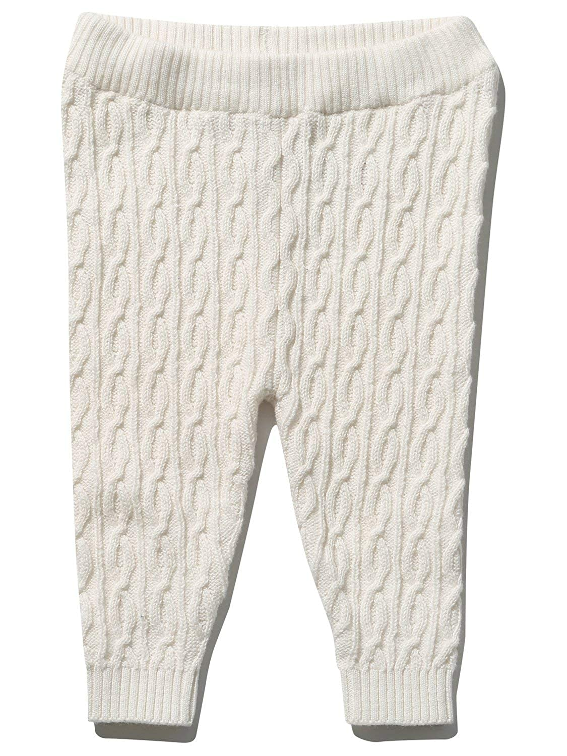 M& Co Baby Girl White Stretch Waist Cable Knit Finish Full Length Knitted Leggings