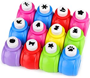 12Pcs Paper Shapes Craft Punch, Dynvue Mini Hole Punches Set for Scrapbooking, Handwork Cards, Nail Design, Handcrafts Making, Diary Decoration, for Office School Studio