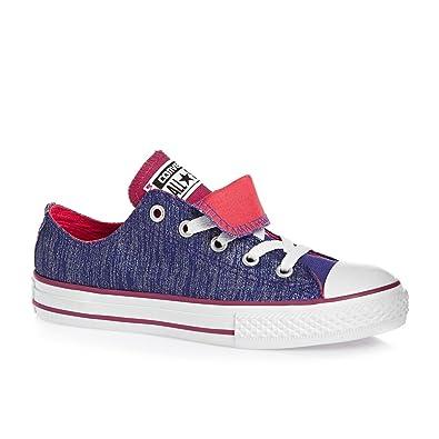 Converse Chuck Taylor All Star Double Tongue Shine Junior Textile Pervenche  - Violet - violet,