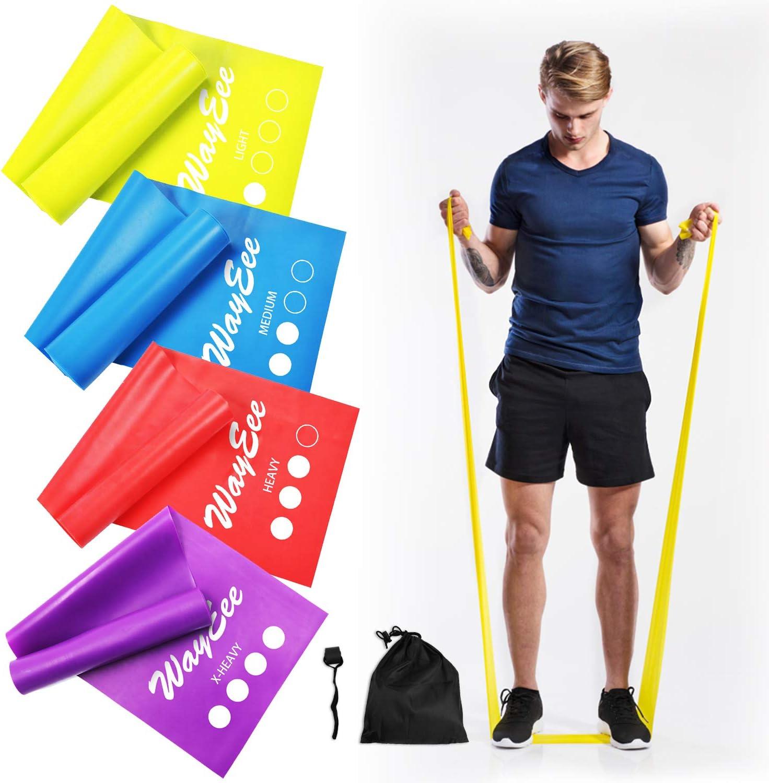 5er Set 100/% Naturlatex Fitnessb/änder eignet Sich f/ür Muskeltraining Pilates Yoga,Produktpaket mit Resistance Bands Anleitung /& Tragebeutel Theraband mit 5-St/ärken TTMOW Widerstandsb/änder -