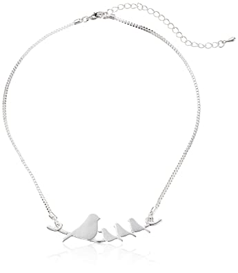 Amazon mother and baby birds on a branch silver plated pendant mother and baby birds on a branch silver plated pendant necklace aloadofball Gallery