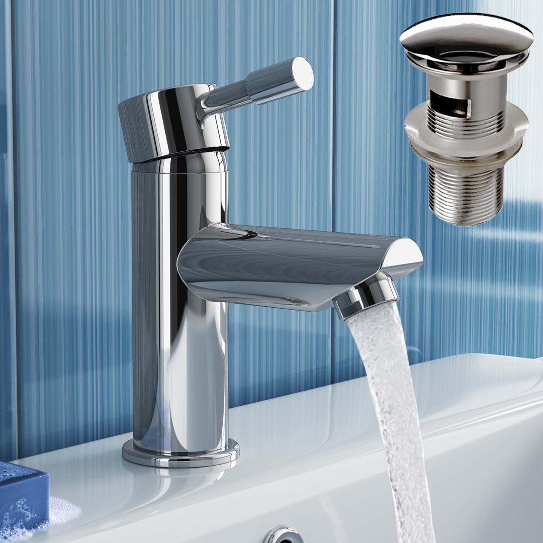iBathUK Cloakroom Basin Sink Mixer Tap Chrome Faucet with Pop Up Waste TB3010S